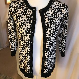 NWT ModCloth B/W Floral Button Front Cardigan, Med